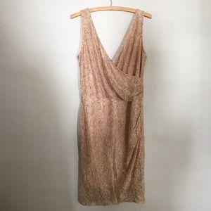 Mystic Tan Lace Midi Dress